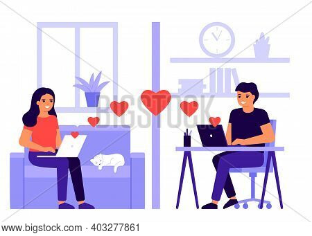 Young Lover Couple Meet Distance In Video Call Online. Remote Communicate With Hearts By Internet Fr