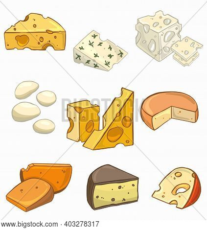 Of A Set Of Different Kinds Of Cheese . High Quality Illustration