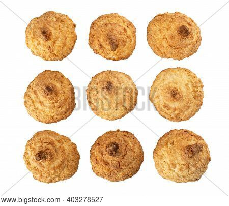 Few Coconut Cookies Isolated On White Background. Top View
