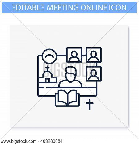 Online Religious Service Line Icon. Meeting Together Concept. Internet Streaming Website. Live, Soci