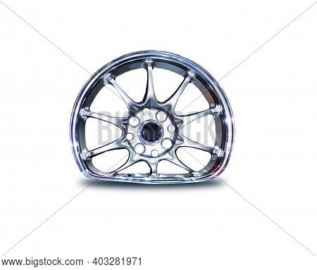 Car Alloy Is Broken, Dented, Folded, Damagedisolated Legs White Background Clipping Part