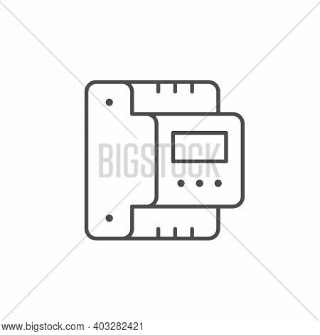 Voltage Relay Line Outline Icon Isolated On White. Vector Illustration