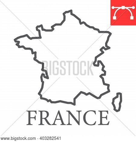 Map Of France Line Icon, Country And Geography, France Map Sign Vector Graphics, Editable Stroke Lin