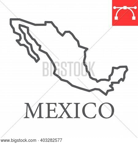 Map Of Mexico Line Icon, Country And Geography, Mexico Map Sign Vector Graphics, Editable Stroke Lin