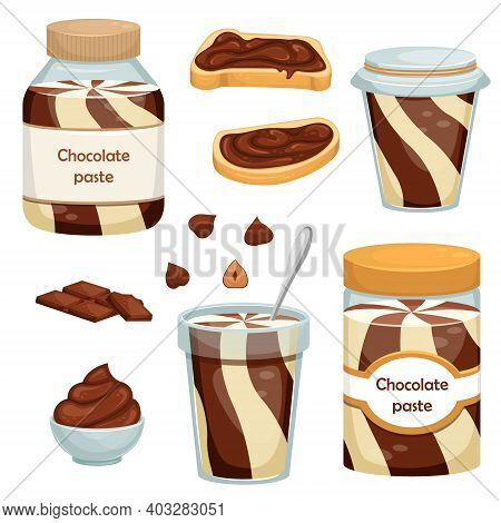 Set Of Vector Illustrations With Cans Of Chocolate Paste, Sandwiches, Chocolate And Nuts. Dessert. S