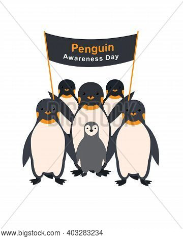 Group Of Penguins With A Poster Penguin Awareness Day