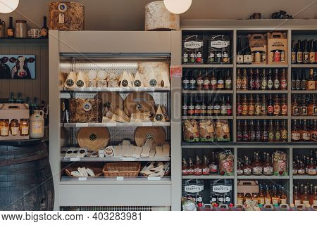 Cheddar, Uk - July 26, 2020: Local Cheese An Products Inside The Original Cheddar Cheese Co Shop In