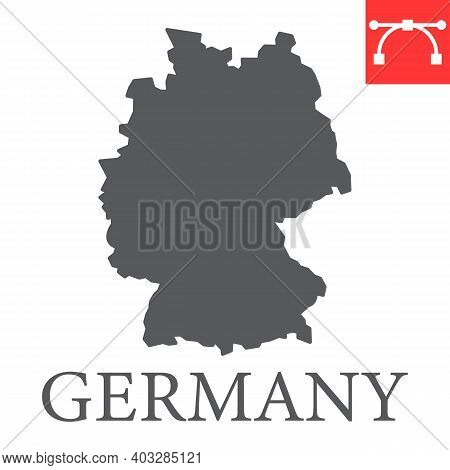 Map Of Germany Glyph Icon, Country And Geography, Germany Map Sign Vector Graphics, Editable Stroke