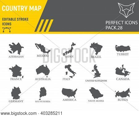 Map Of Country Glyph Icon Set, Country Collection, Vector Sketches, Logo Illustrations, Map Countrie