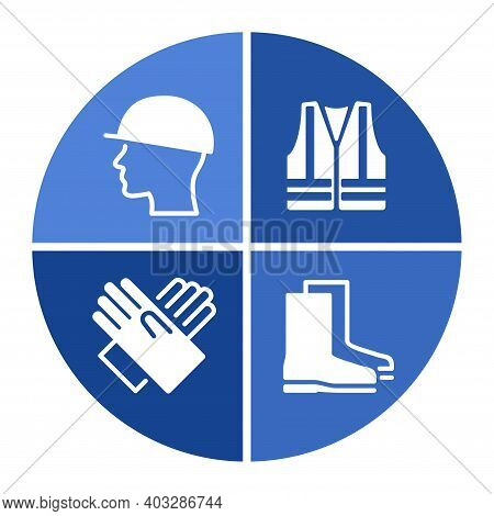Ppe Required Caution Sign In Diagram Form - Personal Protective Equipment Icons Set For Industry And