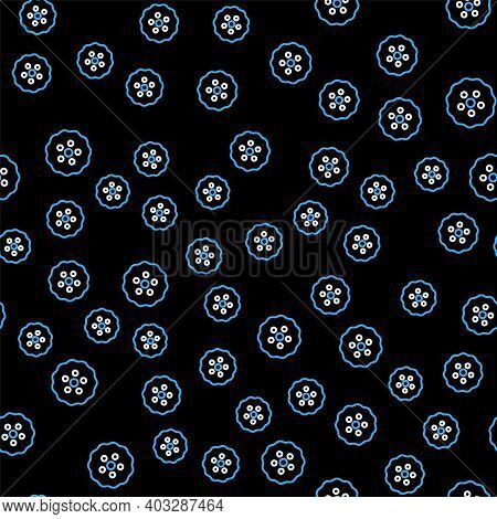 Line Gear Icon Isolated Seamless Pattern On Black Background. Cogwheel Gear Settings Sign. Cog Symbo