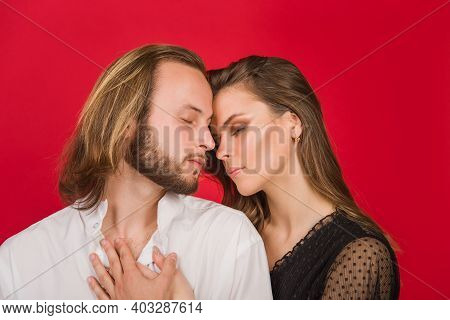 Lovely Couple. Vogue Couple Close Up. Relationships Concept. Portrait Of Stylish Couple. Woman And M