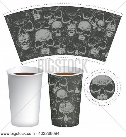 Vector Template Of A Paper Cup For Hot Drinks. Disposable Cup For Tea And Coffee With Abstract Gloom