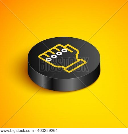 Isometric Line Mma Glove Icon Isolated On Yellow Background. Sports Accessory Fighters. Warrior Glov