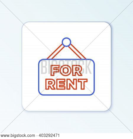 Line Hanging Sign With Text For Rent Icon Isolated On White Background. Signboard With Text For Rent