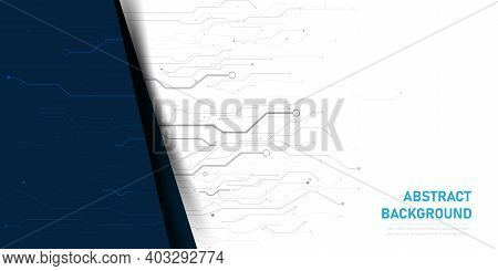 Abstract Background Electronic Printed Circuit Board,  With Connection Line And Dot Element, For Fut