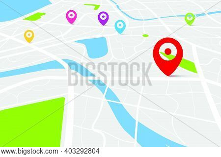3d Top View Of A Map With Destination Location Point, Aerial Clean Top View Of The Day Time City Map