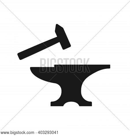 Anvil And Slegdehammer Shape Vector Icon. Blacksmith Workshop Sign. Metal Forging Industry Symbol. I