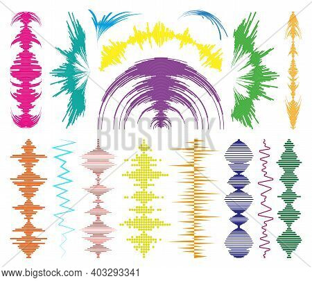 Big Collection Colorful Music Waves Logo And Audio Symbols. Modern Design Sound Equalizer Elements S
