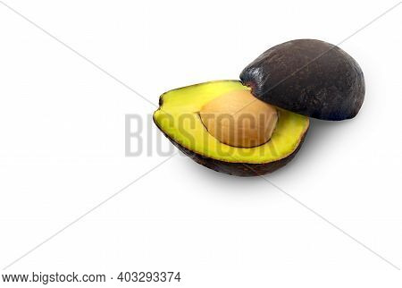 Isolated Two Cut Half Of Avocado With Clipping Path On White Background, Beautiful Composition Two H