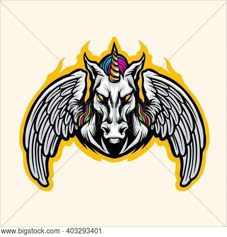 Fantasy Rainbow Unicorn Graphic Illustrations For Your Work Logo, Mascot Merchandise T-shirt, Sticke