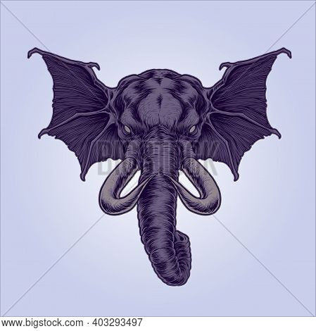 Mythical Winged Elephant Illustrations For Your Work Logo, Mascot Merchandise T-shirt, Stickers And