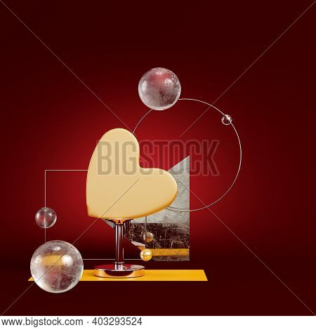 Yellow Abstract Heart With Geometric Figures On Dark Red Background. Minimalism Concept. 3d Render