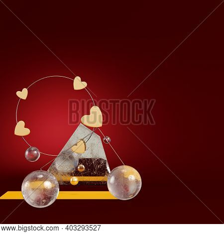 Yellow Abstract Hearts With Geometric Figures On Dark Red Background. Minimalism Concept. 3d Render