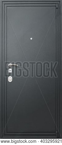 Model Of Entrance Metal Door Isolated On White Background