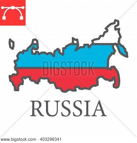 Map Of Russia Color Line Icon, Country And Geography, Russia Map Flag Sign Vector Graphics, Editable