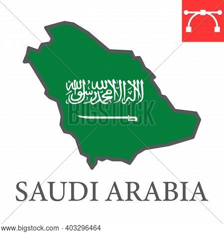 Map Of Saudi Arabia Color Line Icon, Country And Geography, Saudi Arabia Map Flag Sign Vector Graphi