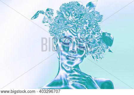 Neon woman of bright gradient holographic neon colors. Neon style concept. Concept art. Minimal surrealism portrait.