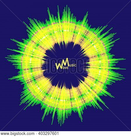 Green-yellow Toxic Color Music Round Wave Background. Modern Audio Pulse Player Illustration. Vector