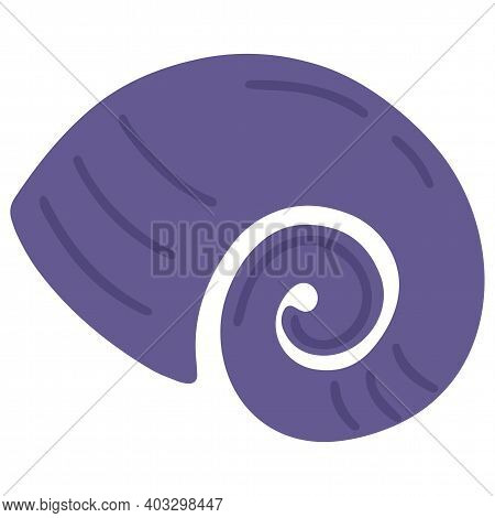 Ammonite, Extinct Mollusc, Spiral Shell. Isolated Object. Vector Illustration For Children. Drawn By