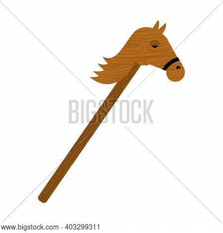 Hobby Horse. Wooden Horse Toy. Vector Illustration