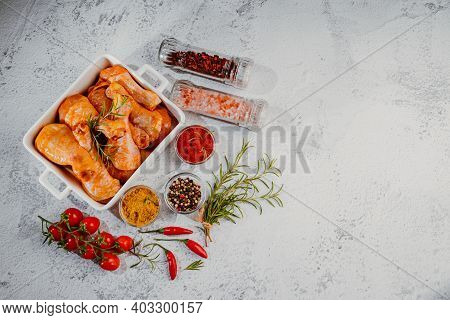 Marinated Chicken Drumstick In White Ceramic Oven Dish. Top View.convenience Food,pree Cooked.raw Ch