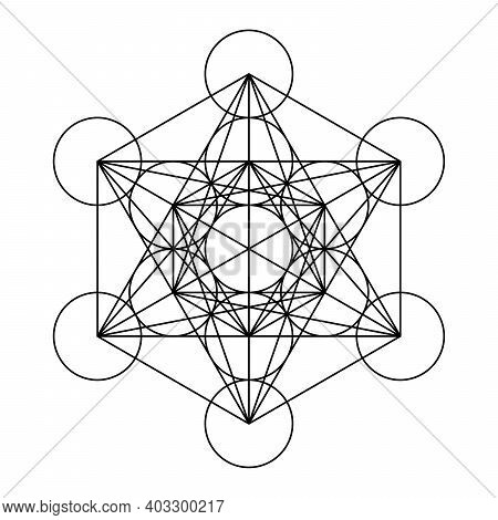 Metatrons Cube, A Mystical Symbol, Derived From The Flower Of Life. All Thirteen Circles Are Connect