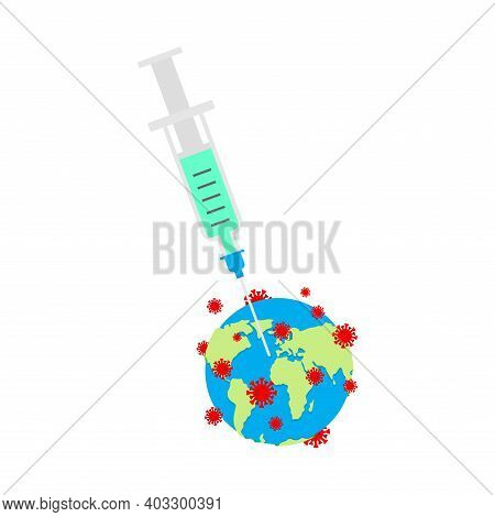 Coronavirus Vaccine. Vaccinating Earth. Syringe Pierces Covid-19 Bacteria. Cure For Infection