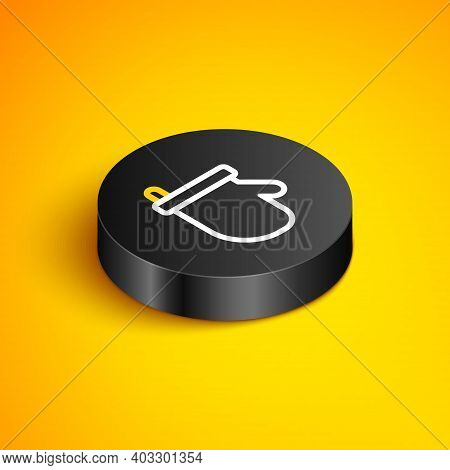 Isometric Line Sauna Mittens Icon Isolated On Yellow Background. Mitten For Spa. Black Circle Button