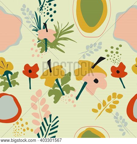 Seamless Pattern With Frangipani Flowers,tropical Jungle Leaves.hand Drawn Vector Trendy Abstract Ba