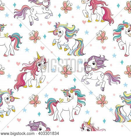 Seamless Vector Pattern With Colorful Unicorns White