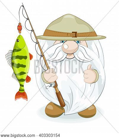 Cute Gnome Scout Show Like With Perch On Rod, Picture In Hand Drawing Cartoon Style For Greeting Pos