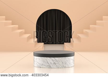 Premium Marble Podium Pastel Background With Stairs And Curtain. Mock-up For The Exhibitions Or Pres