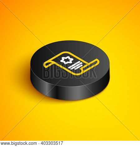 Isometric Line Torah Scroll Icon Isolated On Yellow Background. Jewish Torah In Expanded Form. Star