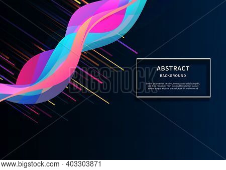 Abstract Dynamic Colorful Vibrant Wave On Dark Blue Background And Colorful Lines. You Can Use For A