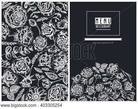 Menu Cover Floral Design With Chalk Roses, Anemone, Eucalyptus, Lavender, Peony, Viburnum Stock Illu