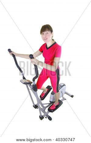 Woman And  trainer Machine
