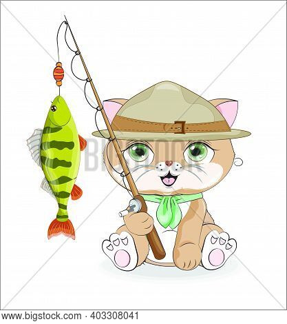 Cat Ilfisherman Scout With Perch On Rod, Picture In Hand Drawing Cartoon Style, For Print Design, Gr