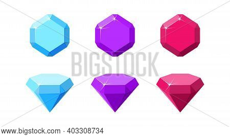 Hexagon Colorful Gemstones. Ruby, Amethyst And Diamond Top And Side View. Cartoon Vector Illustratio