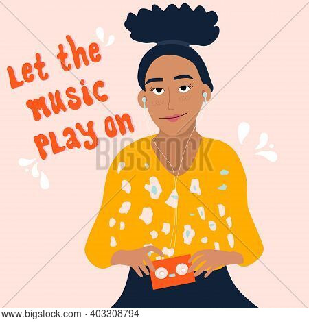 Young Woman Is Listening To Music In Headphones And Enjoy Sound.girl Is Holding Retro Audio Player W
